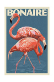Bonaire, Dutch Caribbean - Flamingo Plakat af  Lantern Press