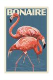 Bonaire, Dutch Caribbean - Flamingo Print van  Lantern Press