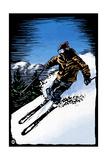 Downhill Skier - Scratchboard Konst av  Lantern Press