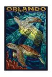Orlando, Florida - Sea Turtle - Mosaic Schilderij van  Lantern Press