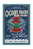 Blue Crabs - Vintage Sign Kunstdrucke von  Lantern Press
