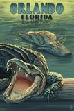 Orlando, Florida - Alligators Prints by  Lantern Press