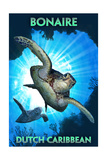 Bonaire, Dutch Caribbean - Sea Turtle Diving Posters by  Lantern Press