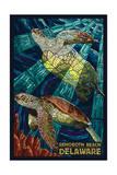 Rehoboth Beach, Delaware - Sea Turtle Mosaic Schilderij van  Lantern Press