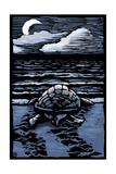 Sea Turtle on Beach - Scratchboard Poster van  Lantern Press