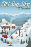 Big Sky, Montana - Retro Ski Resort Prints by  Lantern Press