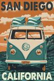San Diego, California - VW Van Pôsteres por  Lantern Press