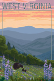 West Virginia - Bear and Spring Flowers Posters by  Lantern Press
