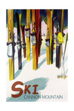 Cannon Mountain, New Hampshire - Colorful Skis Prints by  Lantern Press