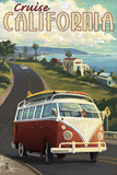 California - VW Van Cruise Prints by  Lantern Press