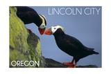 Lincoln City, Oregon - Tufted Puffins - Lantern Press Affiche par  Lantern Press