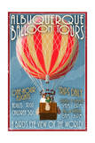 Albuquerque, New Mexico - Hot Air Balloon Tours - Vintage Sign Prints by  Lantern Press