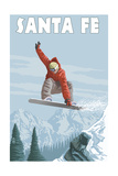 Santa Fe, New Mexico - Jumping Snowboarder Premium Giclee Print by  Lantern Press