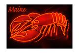 Maine - Neon Lobster Sign Kunst af  Lantern Press