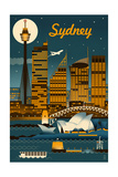 Sydney, Australia - Retro Skyline Kunstdruck von  Lantern Press