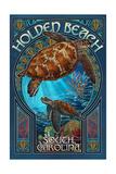 Holden Beach - South Carolina - Sea Turtle Art Nouveau Poster van  Lantern Press