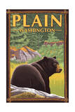 Plain, Washinton - Black Bear in Forest Posters par  Lantern Press