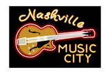 Nashville, Tennesse - Neon Guitar Sign Print van  Lantern Press