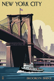 New York City, New York - Brooklyn Bridge Poster van  Lantern Press