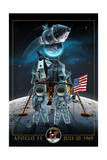Apollo 11 - Lander and Astronauts Premium Giclee-trykk av  Lantern Press