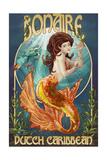 Bonaire, Dutch Caribbean - Mermaid Poster von  Lantern Press