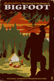 Home of Bigfoot - WPA Style Poster by  Lantern Press