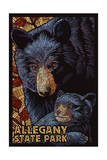 Allegany State Park, New York - Black Bear Mosaic Posters par  Lantern Press