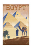 Egypt - Pyramids - Lithograph Style Kunstdruck von  Lantern Press