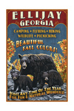 Ellijay, Georgia - Black Bear Vintage Sign Art by  Lantern Press