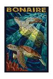 Bonaire, Dutch Caribbean - Sea Turtle Mosaic Poster van  Lantern Press