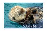San Simeon, CA - Sea Otter Poster von  Lantern Press