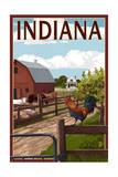Indiana - Barnyard Scene Juliste tekijänä  Lantern Press