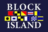 Block Island, Rhode Island - Nautical Flags Prints by  Lantern Press