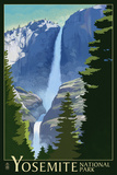 Yosemite Falls - Yosemite National Park, California Lithography Poster von  Lantern Press