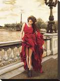 Woman in Paris Stretched Canvas Print by Edoardo Rovere