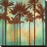 Aqua Palms II Opspændt lærredstryk af John Seba