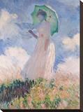 Woman with Parasol Pingotettu canvasvedos tekijänä Claude Monet