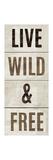 Wood Sign Live Wild and Free on White Panel Giclée-Premiumdruck von Michael Mullan