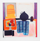 Blue Pitcher on Tablecloth Limited Edition by Wendy Chazin