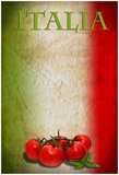 Traditional Italian Flag With Tomatoes And Basil Foto von  pongiluppi