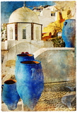 Amazing Santorini - Artwork In Painting Style Prints by  Maugli-l