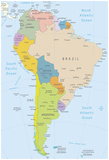 South America-Highly Detailed Map Print by  ekler