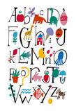 Cute Alphabet With Illustrations Julisteet