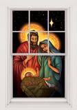 Jesus, Mary & Joseph WOwindow Poster Vinduessticker
