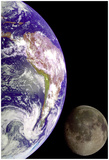 Earth And Moon (From Space) Photo Poster Print Póster