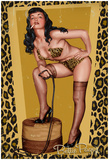 Bettie Page Golden Leopard Pin-Up Print