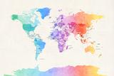 Watercolour Political Map of the World Affiches par Michael Tompsett