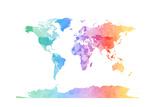 Akvarell kart over verden Plakater av Michael Tompsett