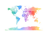 Watercolor Map of the World Map Art by Michael Tompsett