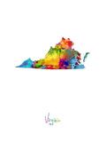 Virginia Map Premium Giclee-trykk av Michael Tompsett